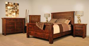 Ruff Sawn Tahoe Straight Leg Four Piece Bedroom Set