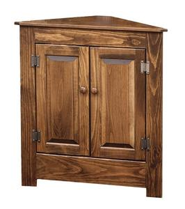 Farmhouse Corner Cabinet in Pine Wood