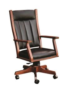 Amish Upholstered Swivel Mission Office Chair with Gas Lift