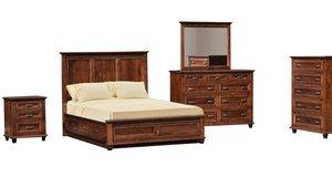 Quick Ship Colbran Rustic Cherry Five Piece Bedroom Suite