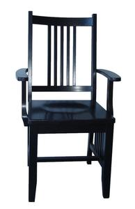 In Stock Set of Two Oak Mission Arm Dining Chairs