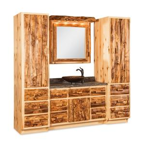 Amish Rustic Log Bathroom Vanity