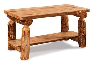 Rustic Log Coffee Table with Shelf