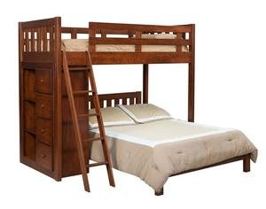 Amish Kids Twin Over Full Bunk Bed with Bookcase