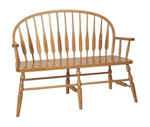 Amish Feather Low Windsor Bench