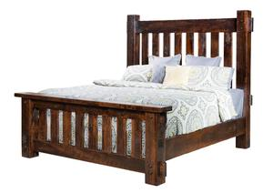 Amish Rustic Rough Sawn Brown Maple Wood Houston Bed with High Headboard