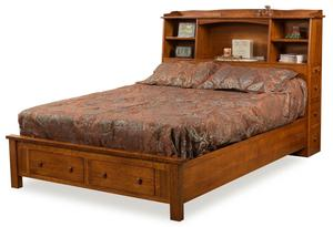 Amish Bookcase Platform Bed with Storage Footboard