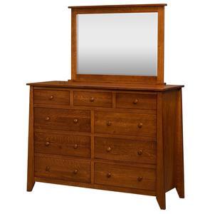 Amish Rushmore 9-Drawer Dresser with Optional Mirror