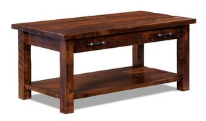 Amish Houston Open Coffee Table with Drawer and Shelf