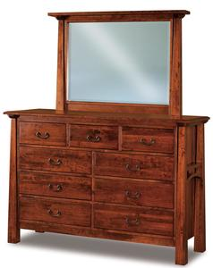 Amish Made Artesa Nine Drawer Dresser with Optional Mirror