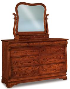 Amish Chippewa Sleigh Nine Drawer Dresser with Optional Mirror