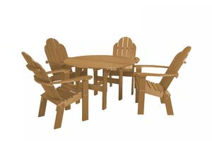 """Eco Poly Outdoor Dining Set 46"""" Round Table with 4 Chairs"""