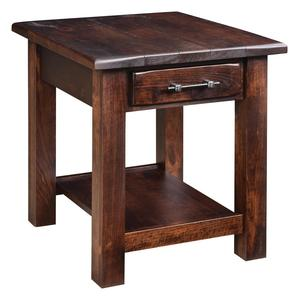 Amish Barn Floor End Table with One Shelf