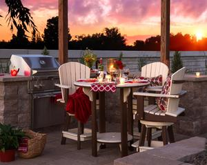 Amish Poly Balcony Bar Table Set with Four Swivel Chairs