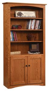 "Amish 36"" Shaker Bookcase with Optional Doors"