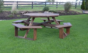 "Amish Cedar Wood 54"" Octagon Picnic Table"