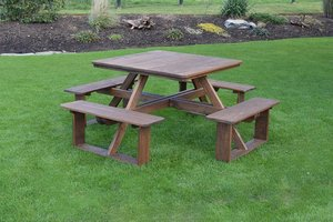 "44"" Square Pine Walk-In Picnic Table"