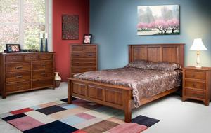 Quick Ship Old World Mission Panel Five Piece Bedroom Set in Rustic Quarter Sawn White Oak