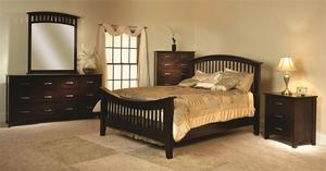 Amish Cambrai Mission Four Piece Bedroom Set in Brown Maple