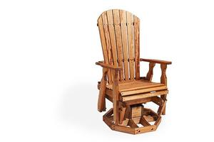 Amish Pine Wood Fan Back Swivel Glider Chair