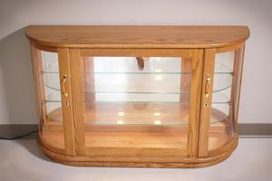 Amish Large Curio Console Cabinet with Rounded Sides