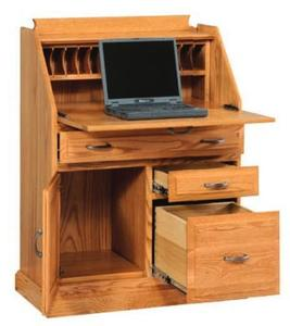 Amish Classic Secretary Desk with File Cabinet Drawer