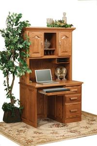 Amish Flat Top Computer Desk with Hutch Top
