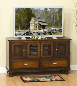 Amish Cable Mill Cantilever Plasma Stand with Beaded Doors