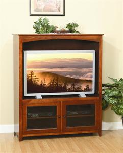 Amish Economy Entertainment Center with Glass Doors - Quick Ship
