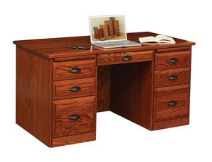 Amish Traditional Flat Top Desk with Raised Panel Back