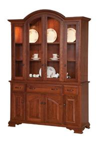 Amish Queen Anne Solid Wood Full Door Hutch - Lifetime Warranty