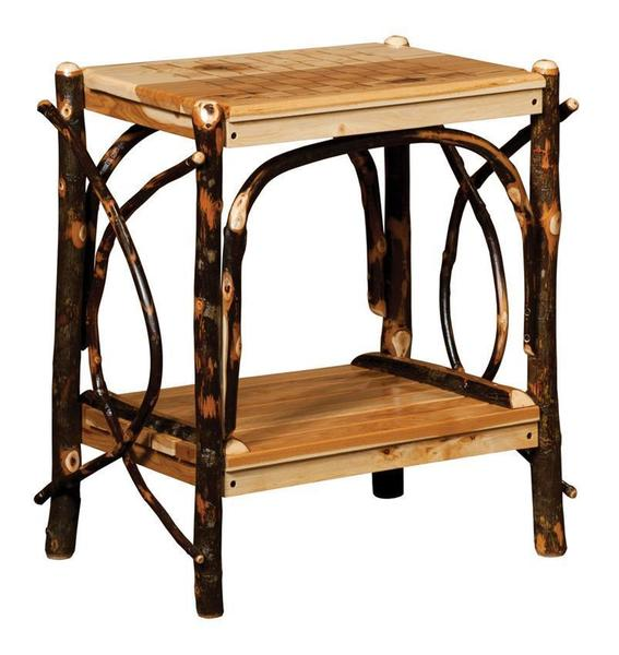 Amish Rustic Hickory Checkerboard Game Table