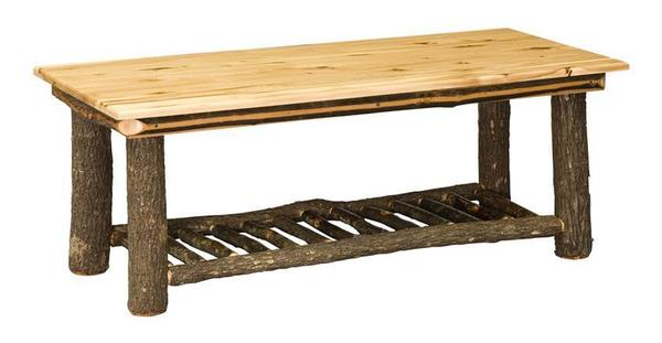 Amish Hoosier Rustic Hickory Wood Coffee Table