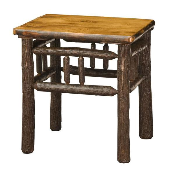 Amish Rustic Lumberback Hickory End Table