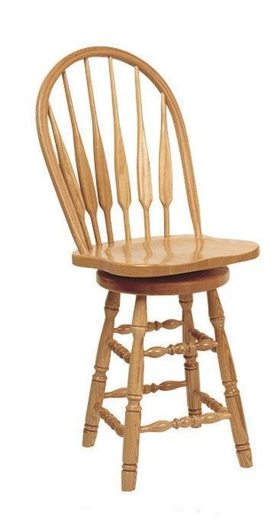 Amish Feather Turned Leg Low Windsor Barstool