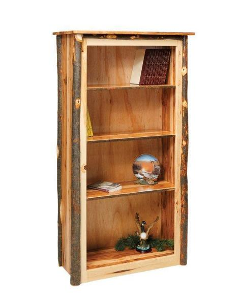"Amish Rustic Cabin Hickory 36"" Bookcase"