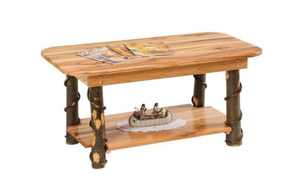 Amish Rustic Hickory Coffee Table With Shelf