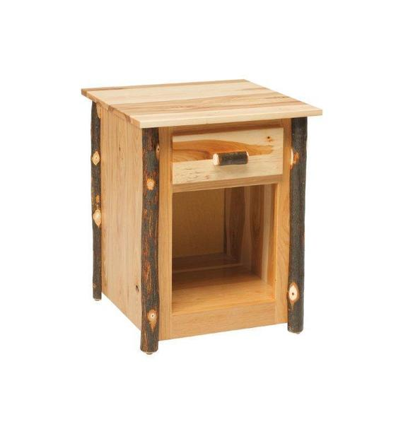 Amish Rustic Hardwood Night Stand with Twig Accents