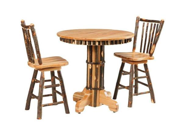 Amish Rustic Cabin Hickory Pub Table