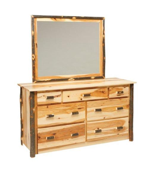 Amish Rustic Seven Drawer Dresser with Optional Mirror