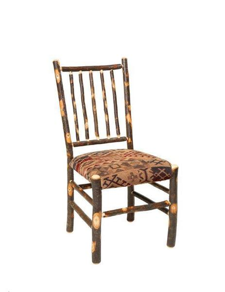 Amish Rustic Cabin Hickory Stick Back Chair with Upholstered Seat