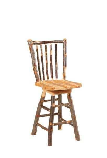 Rustic Hickory Stick Back Swivel Bar Stool From Dutchcrafters Amish