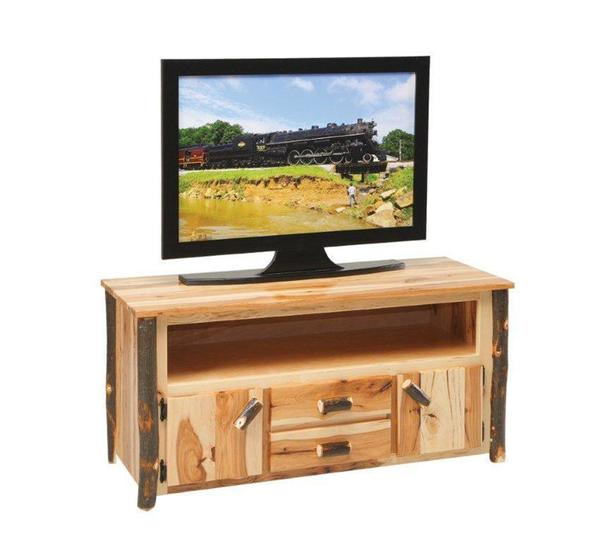 Amish Rustic Cabin Hickory TV Stand