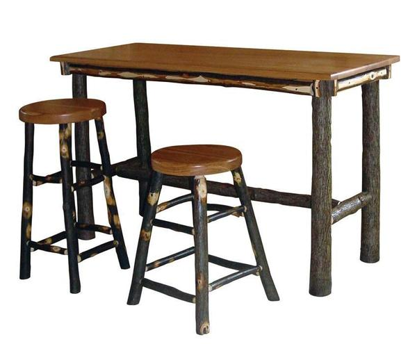 Amish Rustic Hickory Twig Rectangle Pub Table