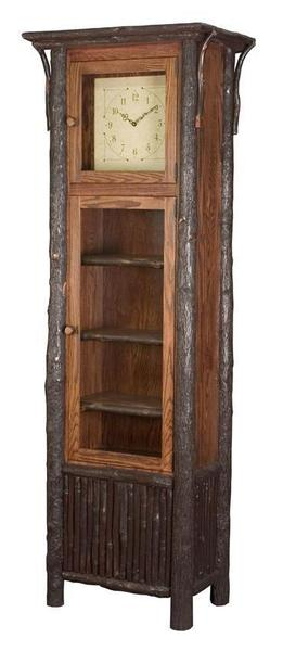 Amish Made Rustic Wood Grandfather Clock with Shelves
