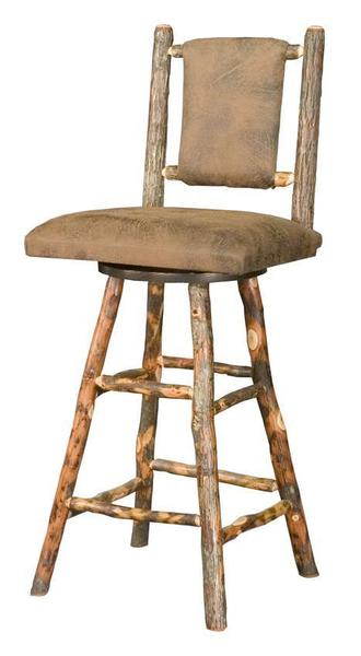 Amish Westville Upholstered Hickory Bar Stool with Swivel