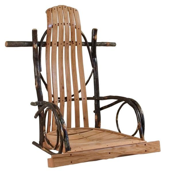 Amish Rustic Hickory Single Rocker Style Porch Swing