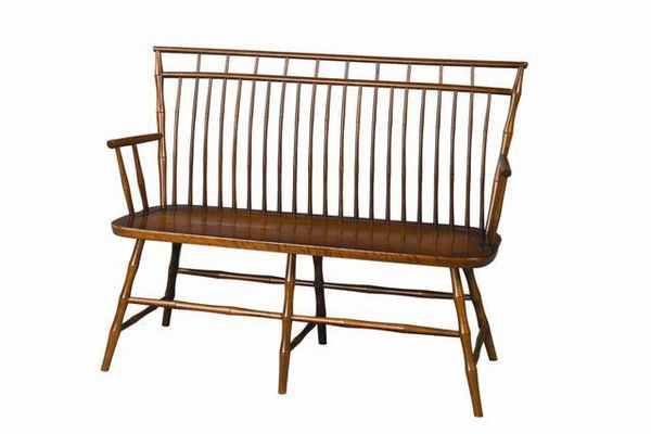 Amish Birdcage Windsor Cherry Wood Bench