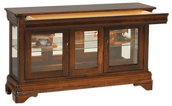 Amish Large Louis Philippe Console Curio with Hidden Drawer