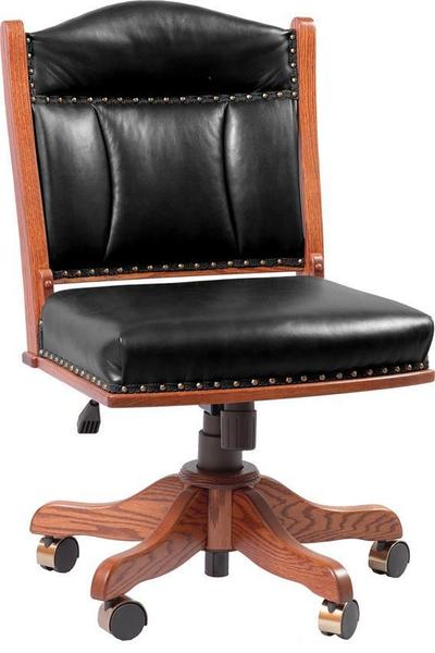 Amish Low Back Desk Chair with Gas Lift